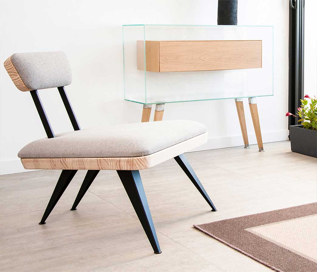Mobilier contemporain made in Occitaine : Fauteuil Butterfly et Console Air